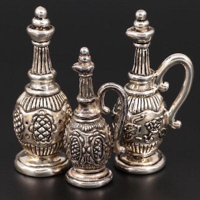 Miniature Sterling Silver Wine Bottle Figurines