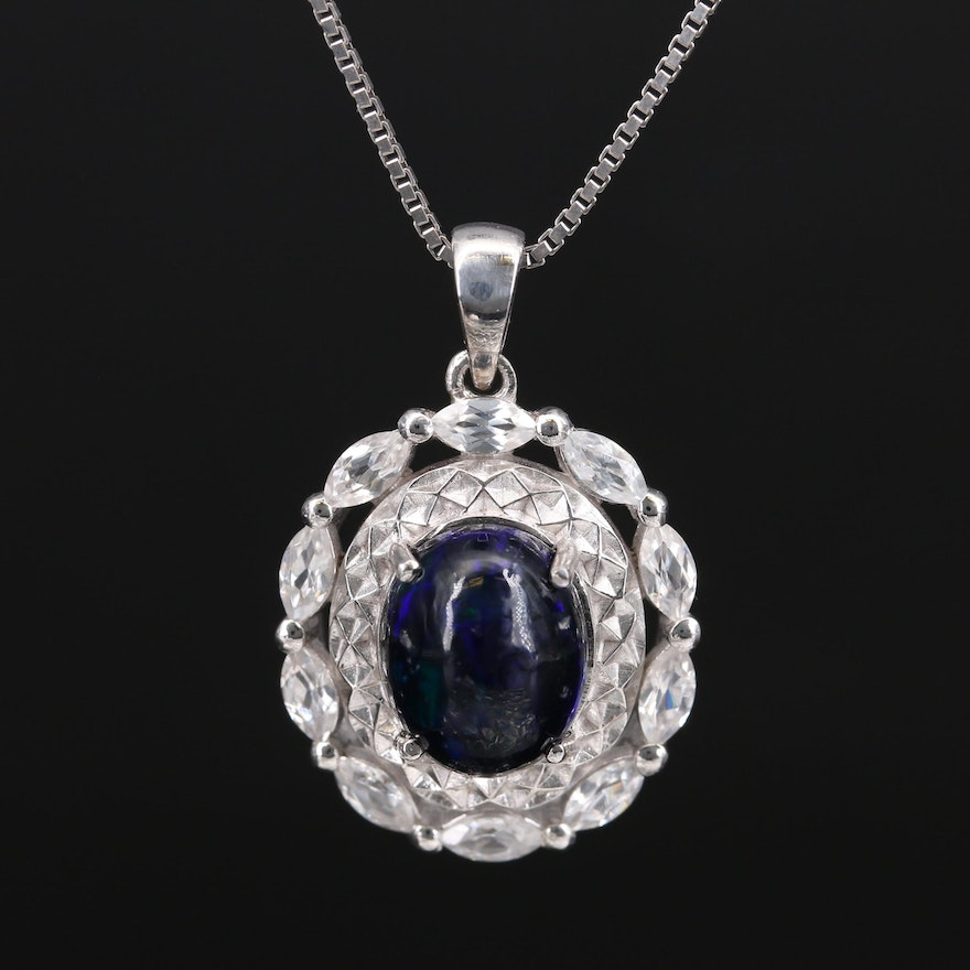 Sterling Silver Opal and Topaz Necklace