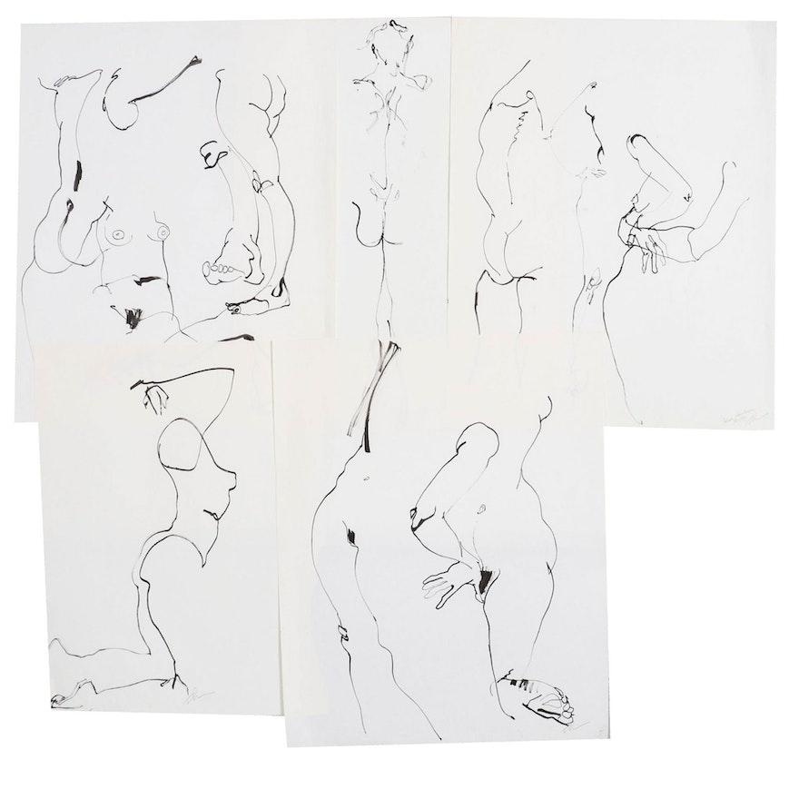 John Tuska Figural Nude Ink Drawings