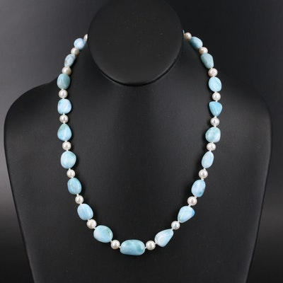 Sterling Silver Larimar and Pearl Necklace