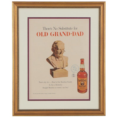 Old Grand-Dad Offset Lithograph Advertisement, Mid-20th Century