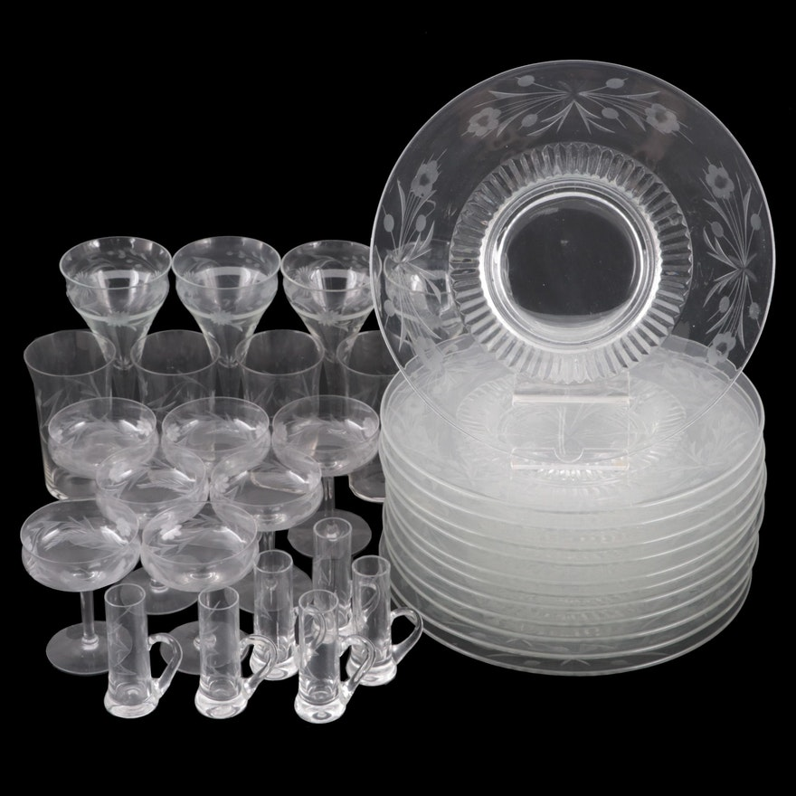 American Floral and Berry Etched Glass Stemware and Plates, Mid-20th Century