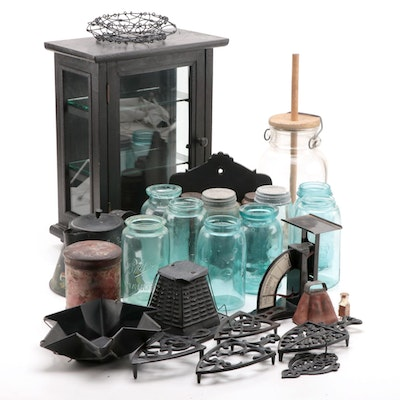 Canning Jars, Trivets, Spice Tins, Display Cabinet and Other Kitchen Gadgets