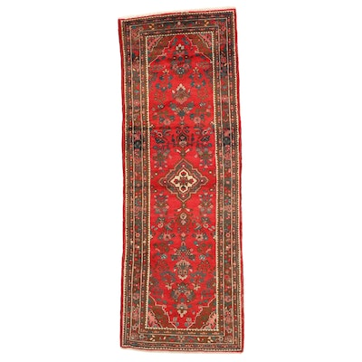 3'8 x 10'3 Hand-Knotted Persian Hamadan Wool Long Rug