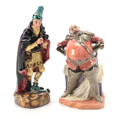 """Royal Doulton """"Falstaff"""" and """"The Pied Piper"""" Porcelain Figurines"""
