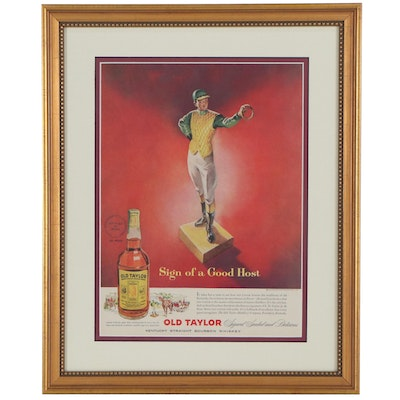 Old Taylor Bourbon Whiskey Offset Lithograph Advertisement, Mid-20th Century