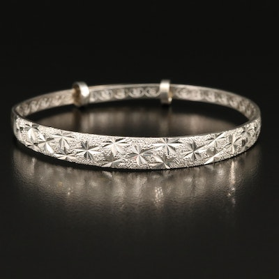 Sterling Textured and Engraved Tapered Bangle