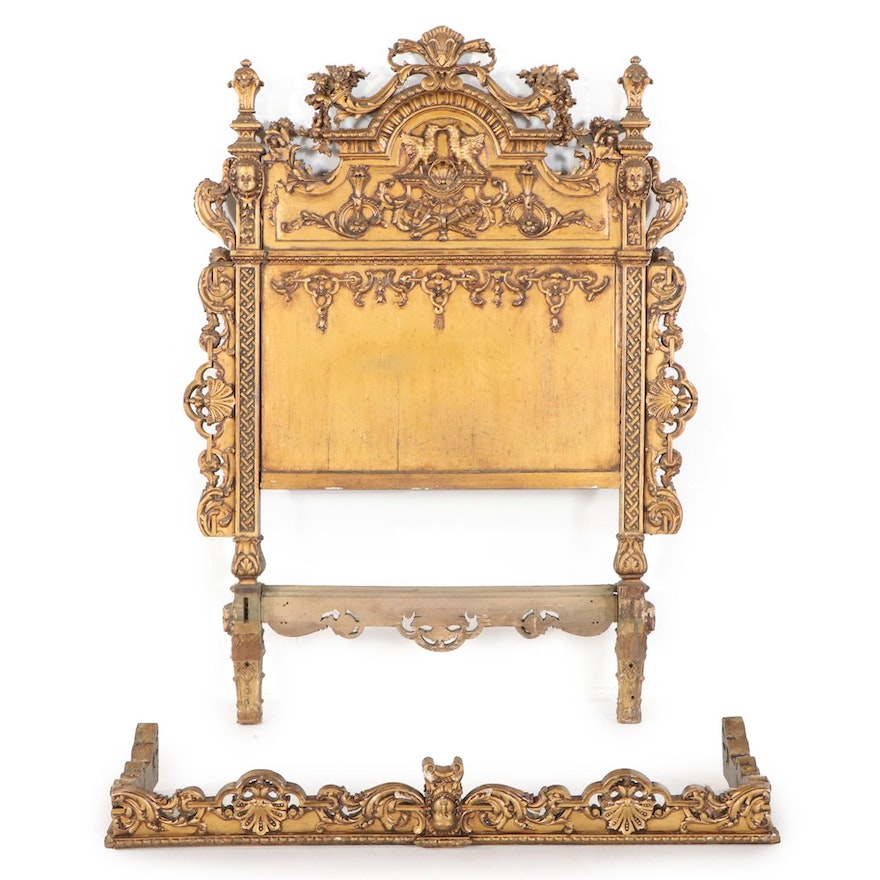 Baroque Style Giltwood Half-Tester Twin Size Headboard, Early 20th Century