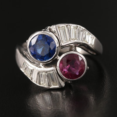 1950s Platinum Ruby, Sapphire, and Diamond Toi Et Moi Ring