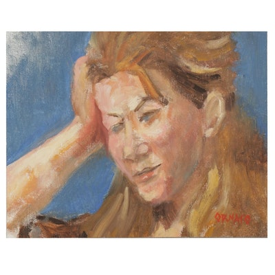"Vince Ornato Oil Painting ""Thinking"""
