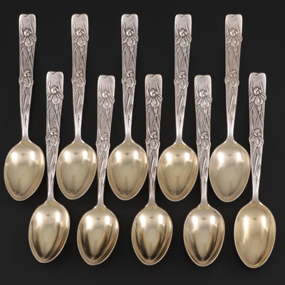 "Tiffany & Co. ""Vine-Iris"" Sterling Silver Demitasse Spoons, Late 19th C."