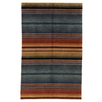 5'2 x 8'2 Hand-Knotted Indian Tribal Gabbeh Wool Area Rug