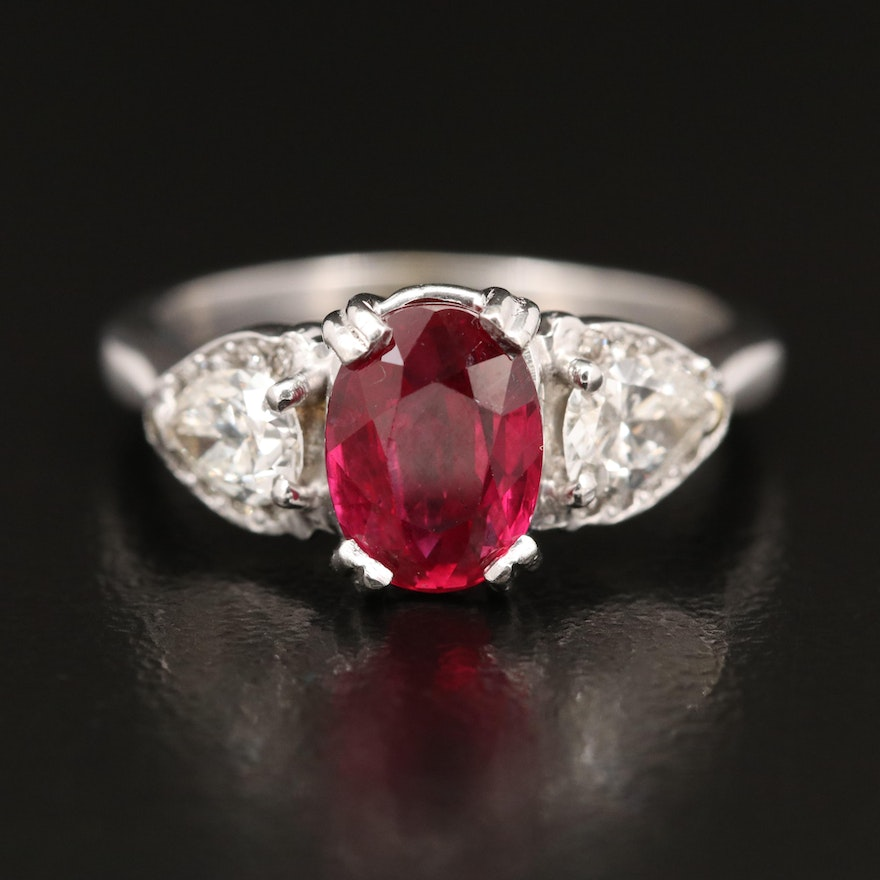 14K Ruby and Diamond Ring with Platinum Setting
