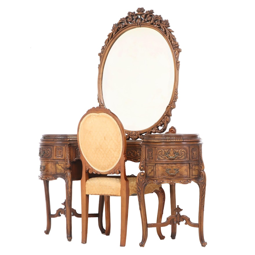 Saginaw Rococo Style Carved Walnut and Burl Walnut Vanity with Chair