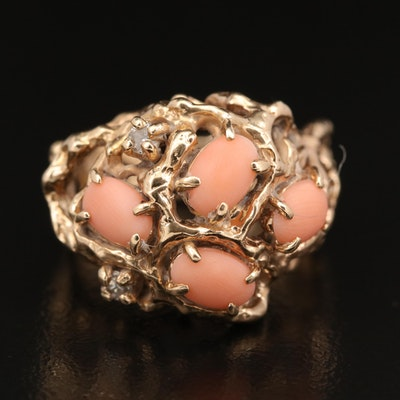 14K Coral and Diamond Biomorphic Ring