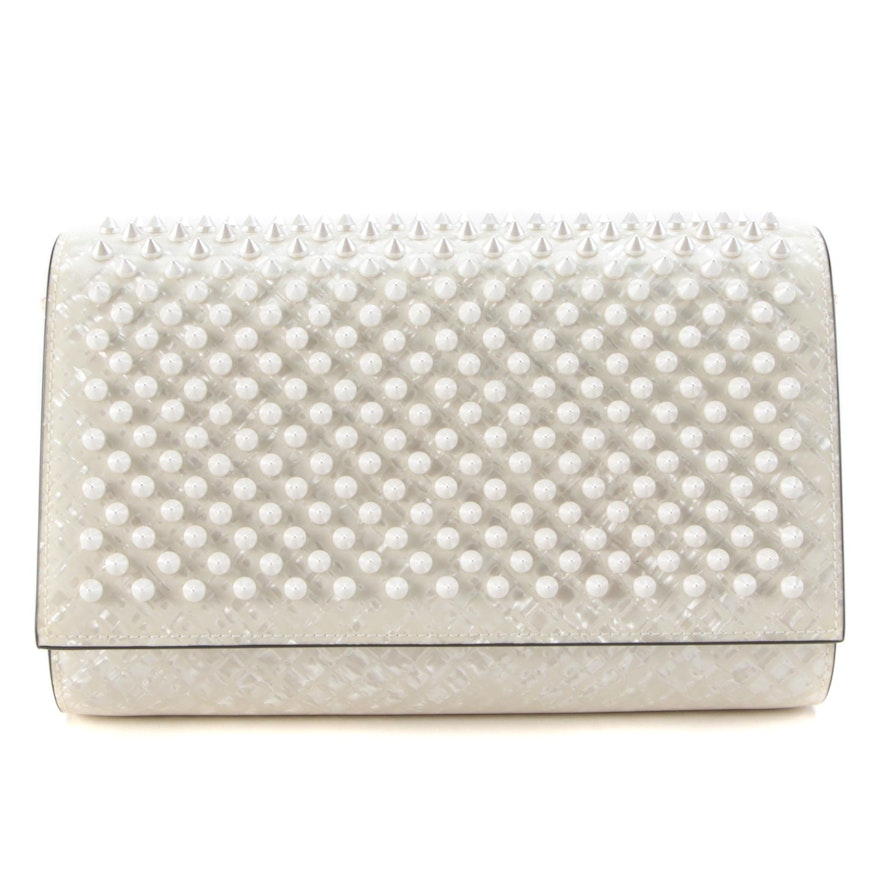 Christian Louboutin Spiked Paloma Crossbody Clutch in Pearlized Patent Leather