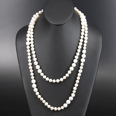Opera Length Pearl Necklace with Sterling Clasp