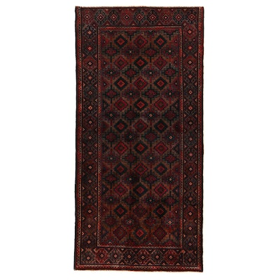 4'1 x 8'5 Hand-Knotted Afghan Baluch Wool Area Rug