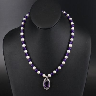 Sterling Quartz and Pearl Necklace with Amethyst and Zircon Pendant