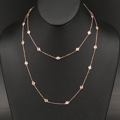 14K Rose Gold 4.81 CTW Diamond Station Necklace