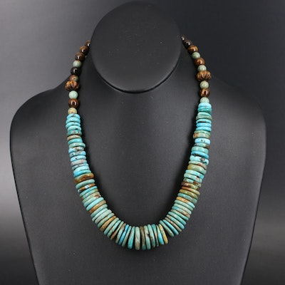 Sterling Graduated Turquoise and Tiger's Eye Quartz Necklace