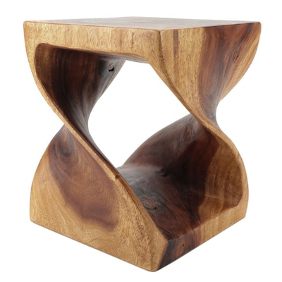 Contemporary Twisted Form Wood Stool