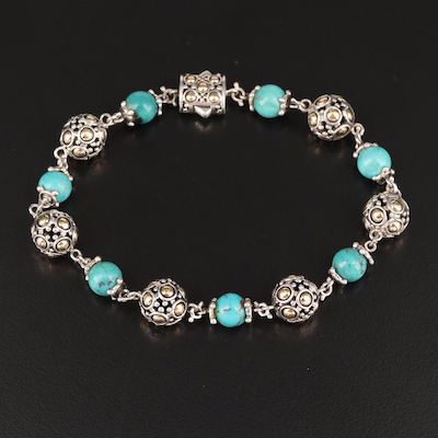John Hardy Sterling Turquoise Bead Bracelet with 18K Accent