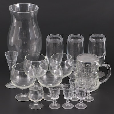 Glass Beer Tankard with Other Stemware and Hurricane Shade, Vintage