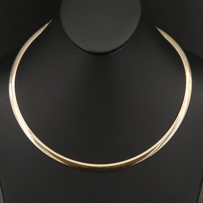 Sterling Silver Reversible Omega Necklace with Extender