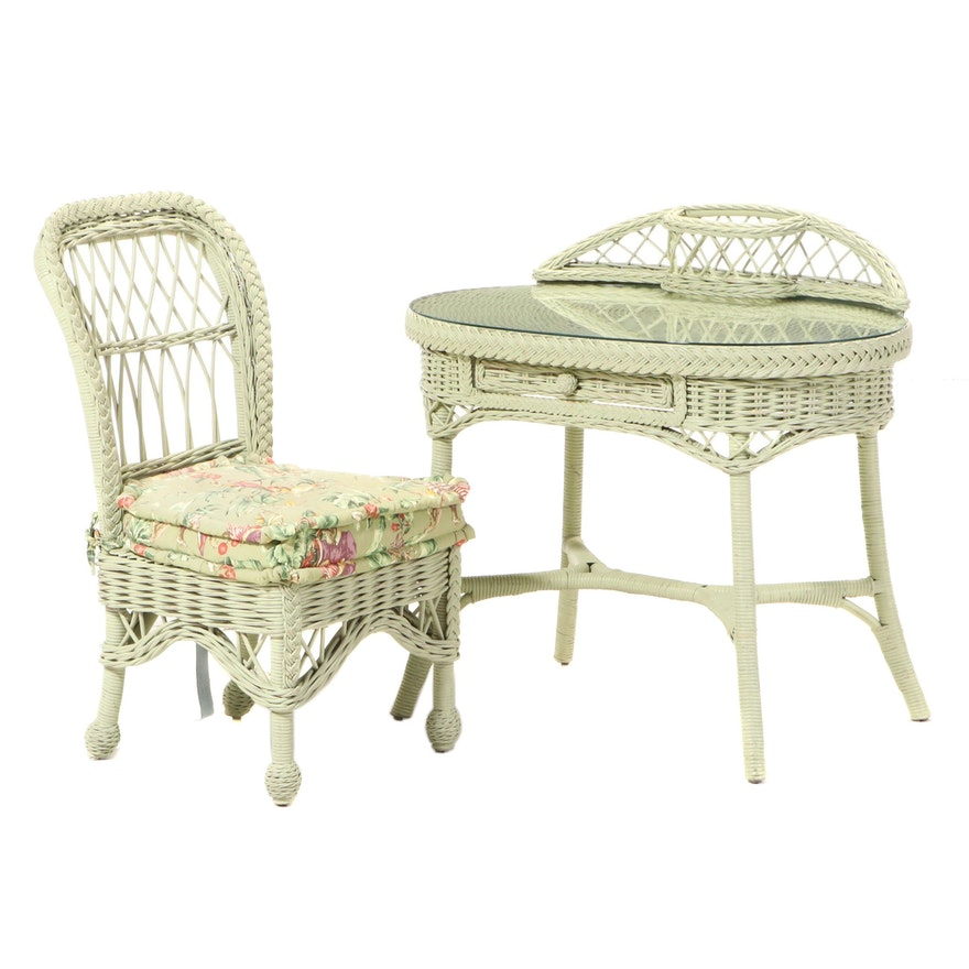 Painted Wicker Writing Desk with Matching Chair