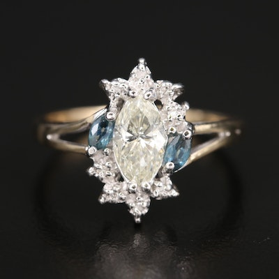 10K 1.02 CTW Diamond and Sapphire Ring