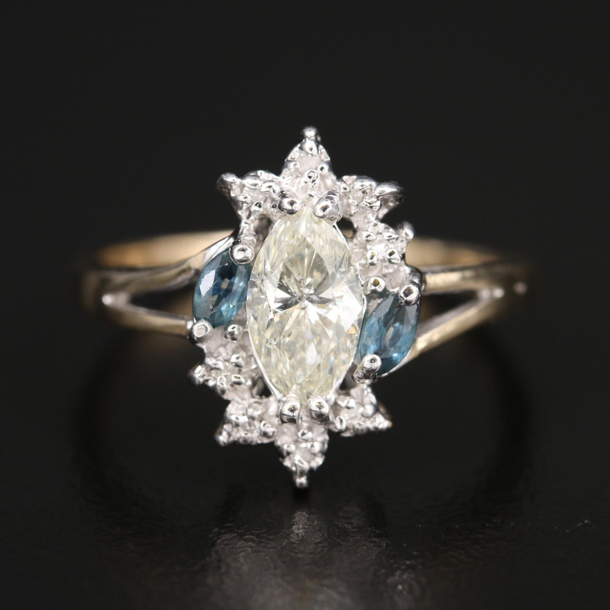 10K 1.02 CTW Diamond and Sapphire Ring