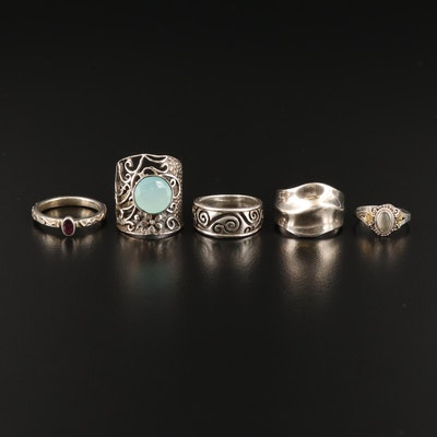 Sterling Silver Rings Including Chalcedony and Glass