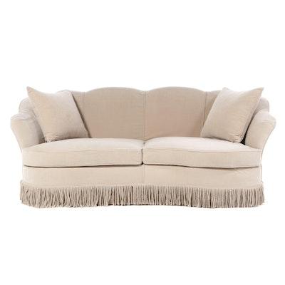 Contemporary Bullion Fringe Upholstered Two-Seat Clamshell Sofa