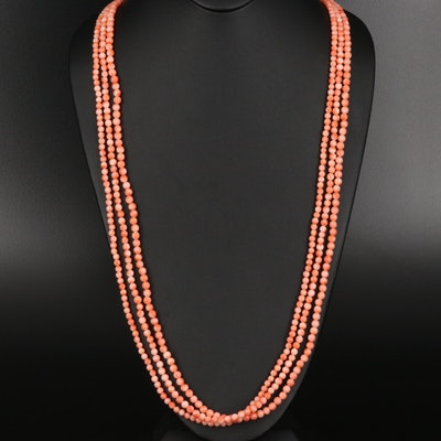 Coral Triple Strand Necklace