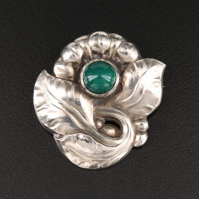 Vintage Georg Jensen Chalcedony Foliate Brooch