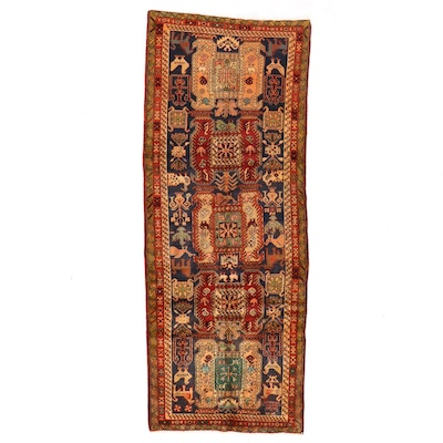 3'8 x 9'9 Hand-Knotted Persian Hamadan Wool Long Rug