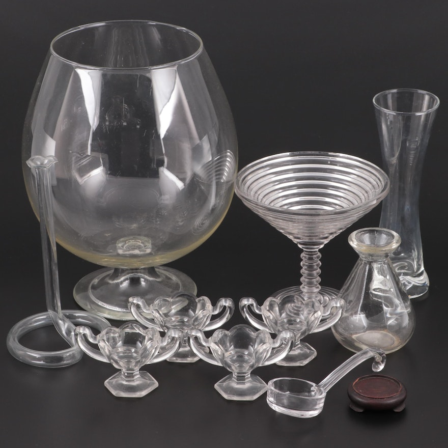 Brandy Snifter Shaped Punch Bowl and Other Clear Glass Tableware, Vintage