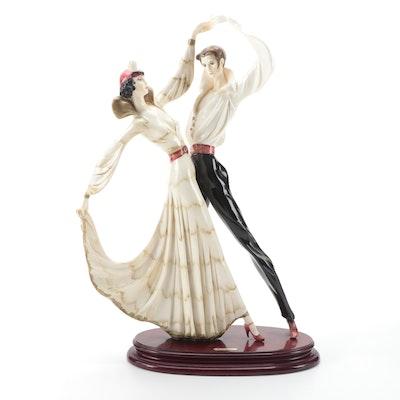 Italian Art Deco Style A. Santini Hand-Painted 'Tango Dancers' Ceramic Figurine