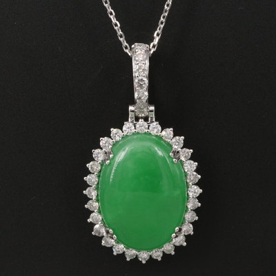14K Jadeite and 1.29 CTW Diamond Necklace