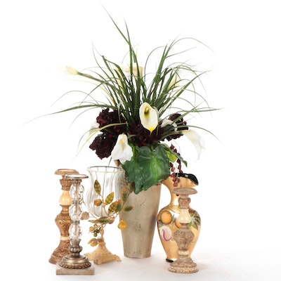 Glass and Metal Decorative Candle Holder with Vases and Faux Flowers