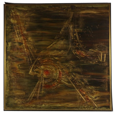 Abstract Expressionist Style Mixed Media Painting, 1972