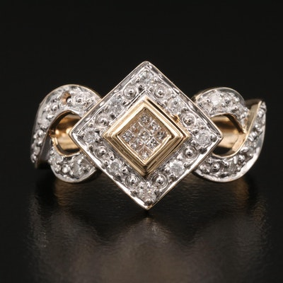 14K Diamond Ring with Twisted Shoulders