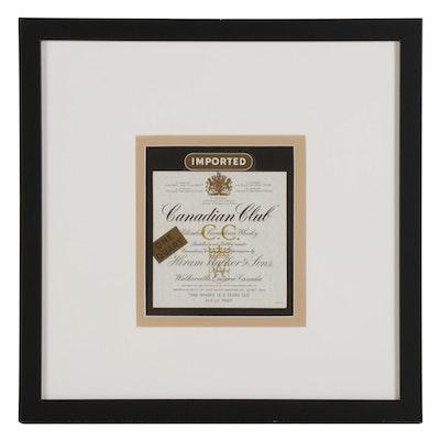 Framed Canadian Club Whisky Label