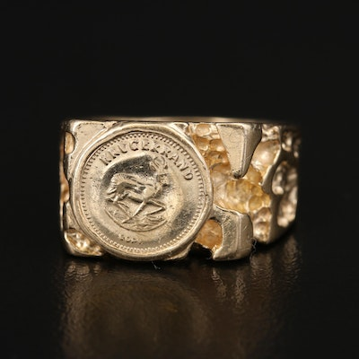 14K Ring with Miniature South African Krugerrand Reproduction Coin