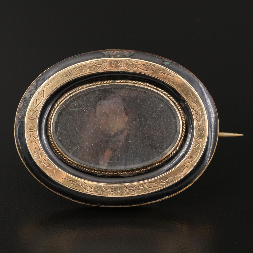 Victorian Glass and Enamel Daguerreotype Mourning Brooch with Photograph