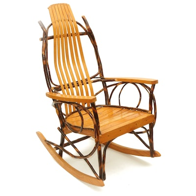 Bench Made Bent Willow and Wooden Slat Rocking Chair