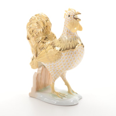 """Herend Butterscotch Fishnet with Gold """"Henry the Rooster"""" Porcelain Figurine"""
