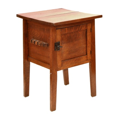 Oak and Cedar Smoker's Cabinet, Early to Mid 20th Century
