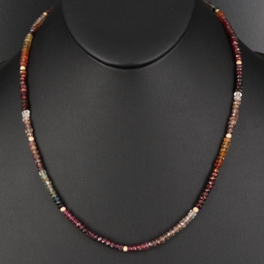 Garnet, Smoky Quartz, and Quartz Beaded Necklace
